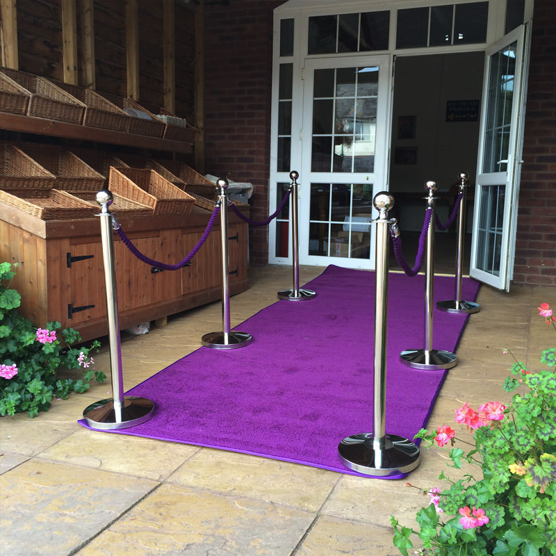 Purple Carpet + Silver Barriers